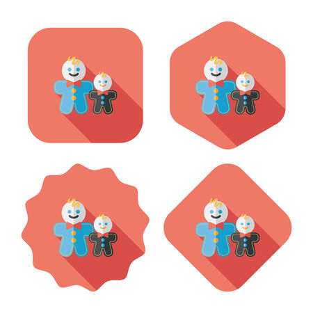 gingerbread man: Gingerbread man flat icon with long shadow,eps10