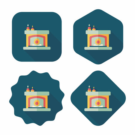 Christmas fireplace flat icon with long shadow Vector