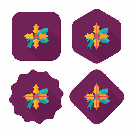 poinsettia flat icon with long shadow Vector