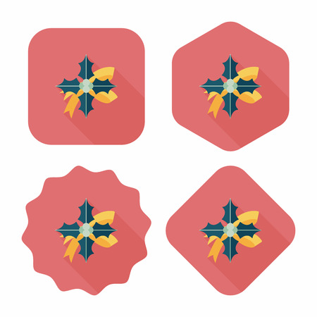 poinsettia flat icon with long shadow, eps10 Vector