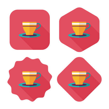 coffeecup: coffee cup flat icon with long shadow,eps10 Illustration