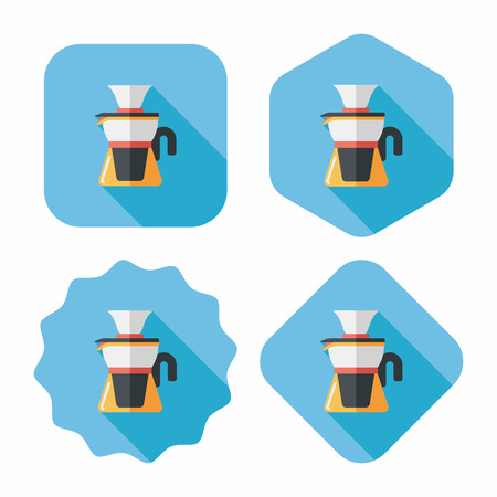 coffee kettle flat icon with long shadow,eps10 Vector