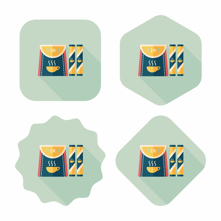 3 in 1 coffee flat icon with long shadow, Vector
