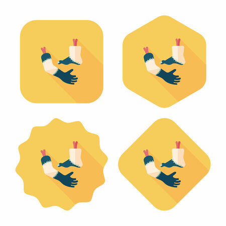 Halloween hand and leg flat icon with long shadow,eps10 Illustration