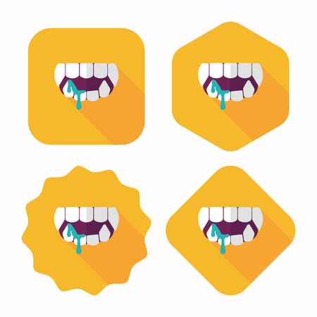 Halloween fangs flat icon with long shadow,eps10