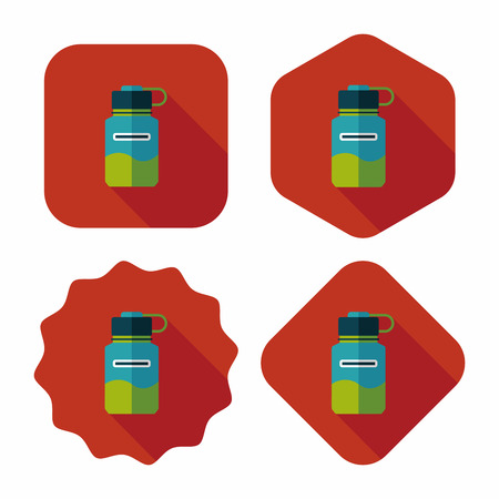 portability: sports water bottle flat icon with long shadow,