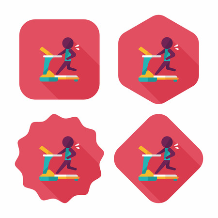 treadmill flat icon with long shadow,eps10 Vector