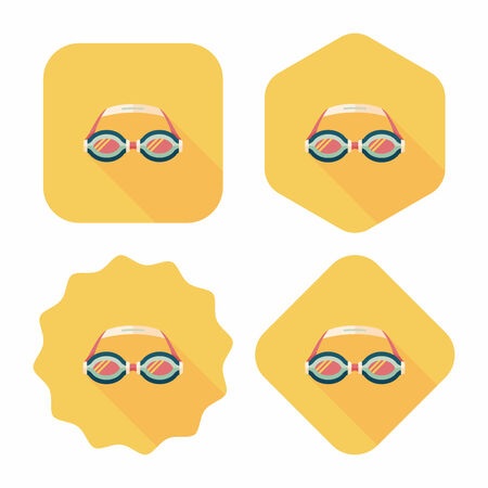 swimming goggles flat icon with long shadow,eps10 Vector
