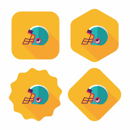 american football helmet set: american football helmet flat icon with long shadow,eps10 Illustration