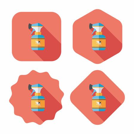 pesticida: Icono plana Pet aerosol de la pulga con larga sombra, eps10