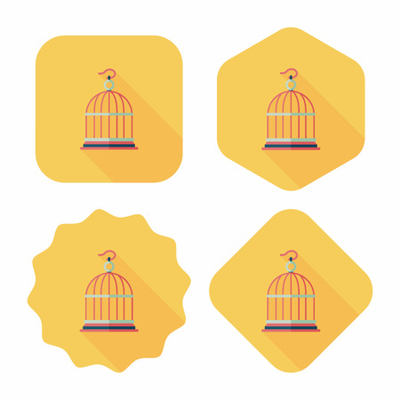 captured: Pet bird cage flat icon with long shadow, eps10