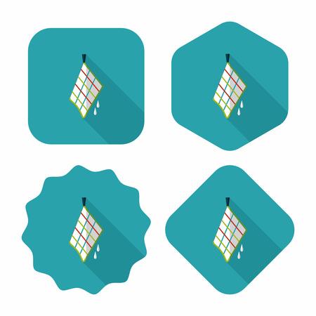 cocina limpieza: icono plana trapo de cocina con una larga sombra
