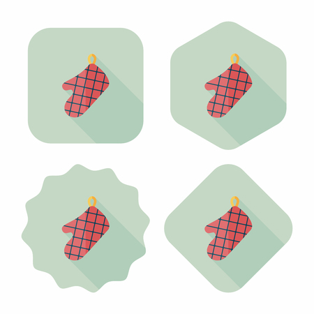 mitts: kitchenware oven mitts flat icon with long shadow