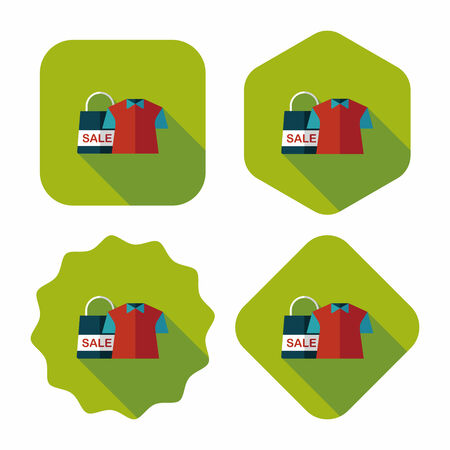 shopping clothes flat icon with long shadow,eps10 Vector
