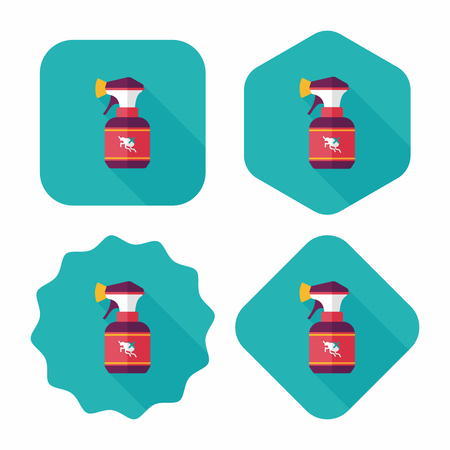 flea: Icono plana Pet aerosol de la pulga con larga sombra Vectores