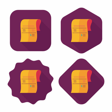 creditcard: shopping credit card bill flat icon with long shadow Illustration