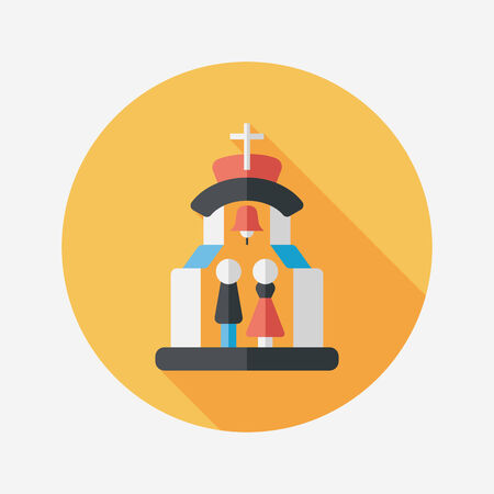 wedding tent: wedding ceremony in chruch flat icon with long shadow,eps10