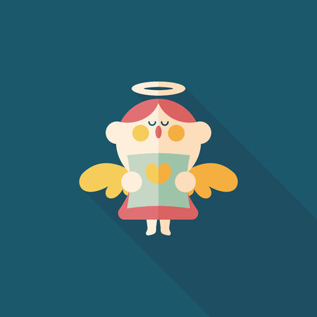 Wedding angel choir flat icon with long shadow,eps10 Vector