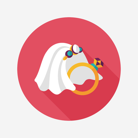 bride veil: bride veil and diamond ring flat icon with long shadow,eps10