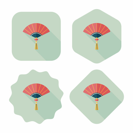 open fan: Chinese New Year flat icon with long shadow,eps10, Chinese folding fan means  win speedy success.