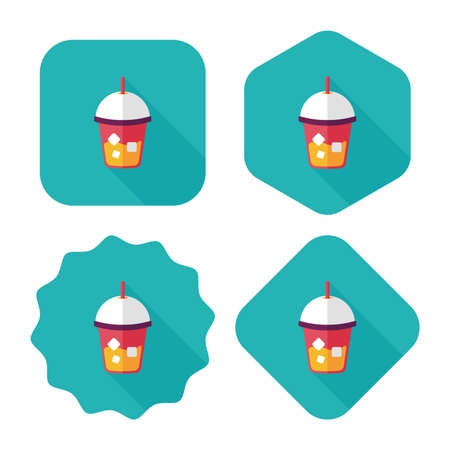 frozen drink: iced drink flat icon with long shadow,eps10 Illustration