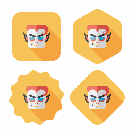 Vampire flat icon with long shadow, eps10 Vector