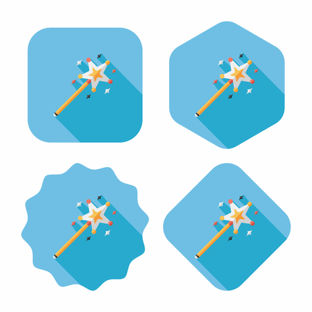 magic wand flat icon with long shadow,eps10 Vector