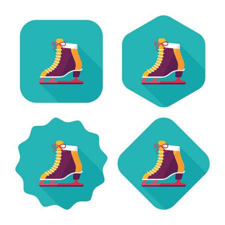 iceskates: ice skate flat icon with long shadow,eps10