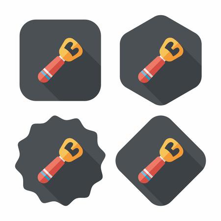 tincan: kitchenware tin opener flat icon with long shadow,eps10