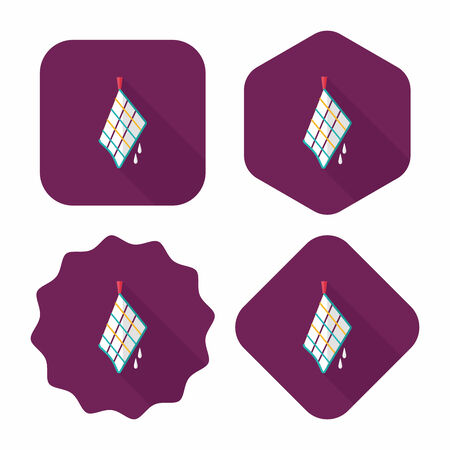 rags: kitchenware rag flat icon with long shadow,eps10