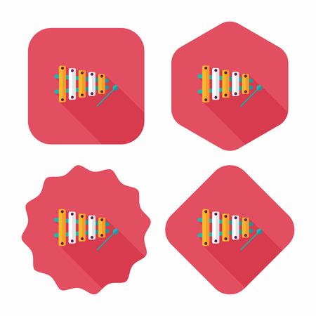 xilofono: Xil�fono icono plana con una larga sombra, eps10
