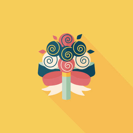 flower bouquet: bruiloft boeket bloemen vlakke icoon met lange schaduw, eps10 Stock Illustratie