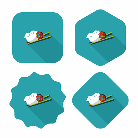 raw pork: Chinese New Year flat icon with long shadow Illustration