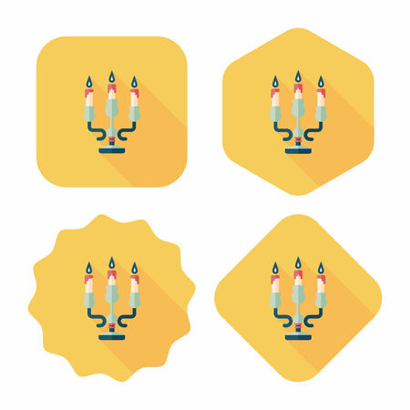 advent wreath: Christmas candle flat icon with long shadow,eps10