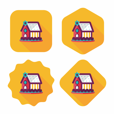 goodie: Gingerbread house flat icon with long shadow