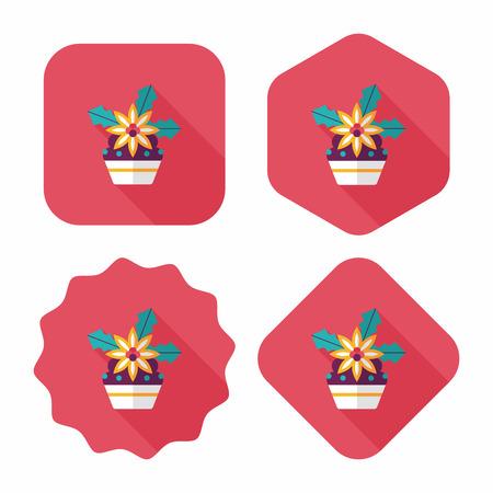gateau de noel: G�teau de No�l ic�ne plat avec ombre Illustration