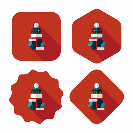 christmas accessories: Christmas accessories flat icon with long shadow