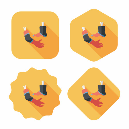 Halloween hand and leg flat icon with long shadow Illustration