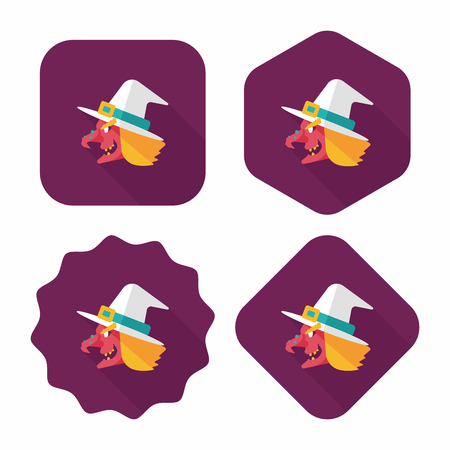 bewitch: witch hat flat icon with long shadow