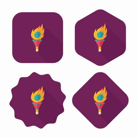 flaming torch: flaming torch flat icon with long shadow