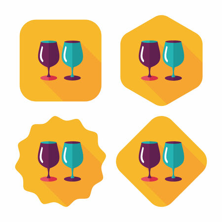 glass cup: kitchenware glass cup flat icon with long shadow Illustration