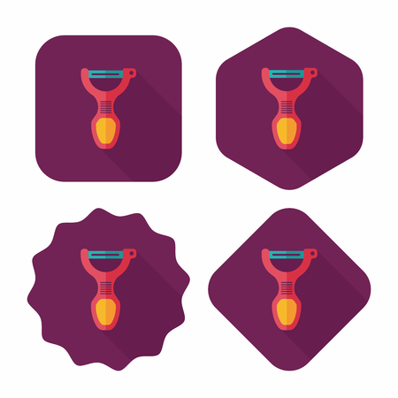 peeler: kitchenware peeler flat icon with long shadow