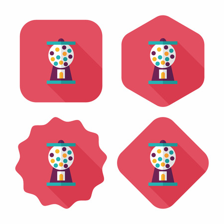 Gum ball Machine flat icon with long shadow Vector