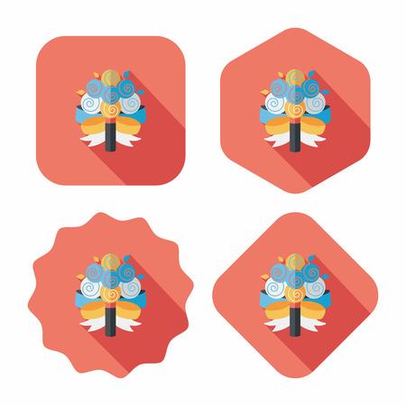 bouquet fleur: mariage bouquet de fleurs ic�ne plat avec ombre