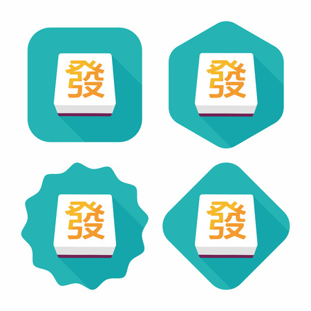 fa: Chinese mahjong flat icon with long shadow,eps10