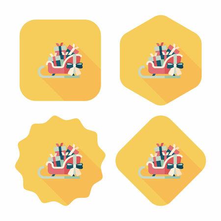 Christmas sleigh gift basket flat icon with long shadow,eps10 Vector