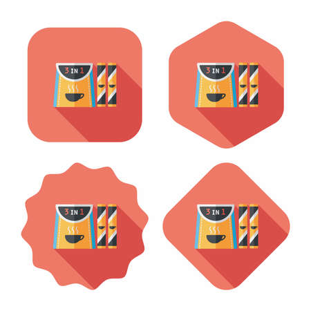 3 in 1 coffee flat icon with long shadow,eps10 Vector