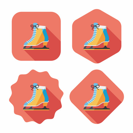 shoelaces: ice skate flat icon with long shadow,eps10
