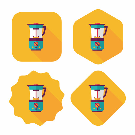 liquidizer: kitchenware electric juicer flat icon with long shadow,eps10 Illustration