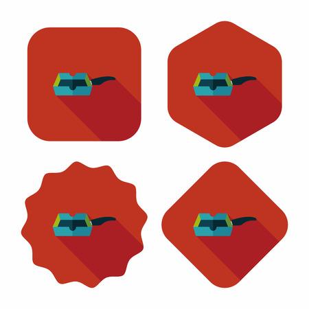 주방 프라이팬 및 삽 긴 그림자, eps10와 플랫 아이콘
